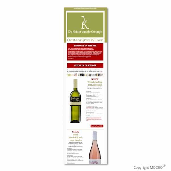 Periodieke nieuwsbrief wijnleverancier door MODEO