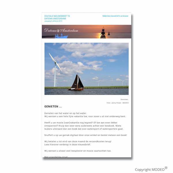 Nieuwsbrief juli voor Datema Amsterdam verzorgd door MODEO