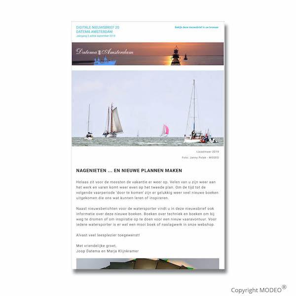 Nieuwsbrief september voor Datema Amsterdam verzorgd door MODEO